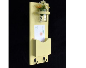 Mail Organizer - Letter Holder - Mail Holder - Mail Sorter - Key Hooks - Key Rack - Jar