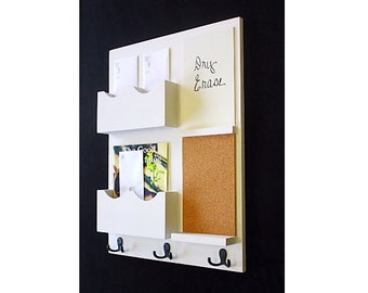 Wall Organizer With Hooks And Bulletin Board Etsy