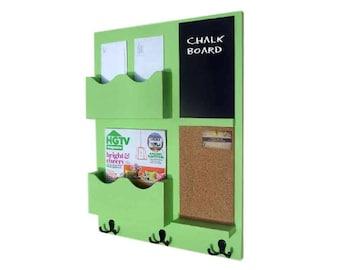 Mail Organizer -  Cork Board - Chalkboard -  Coat Rack - Key Hooks - Coat Hooks  - Wood