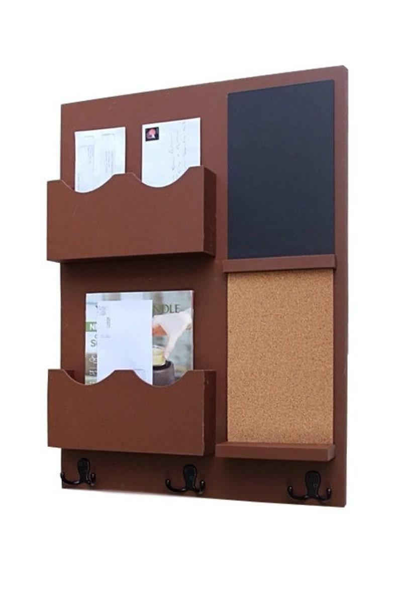 Message Center Mail Organizer Chalkboard Cork Board Etsy