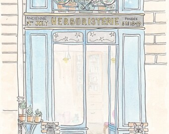 Aqua Blue Herboristerie Shop in Paris art print