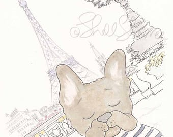 French Bulldog art print in Paris with Eiffel Tower - French Bulldog artwork