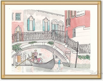 Italy print - Venice Gondola Ride print giclee of original ink and watercolour illustration