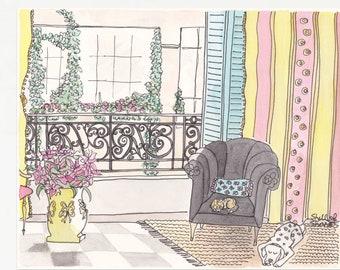 Paris Apartment Pets art print giclee - fine art print from original Paris illustration