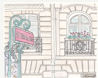 Paris Metro Sign with French Apartment Building Cat - print from original illustration