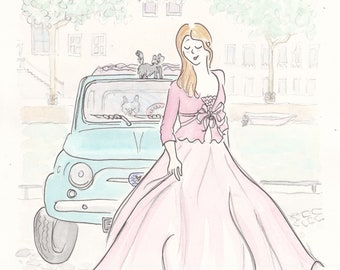 Vintage Cute Car and Fashion travel art print - pink gown and travel companions in Europe