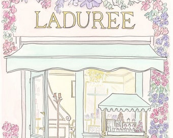 Laduree French Pastries in Paris art print - Laduree Flowering with Cart and Cat illustration