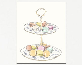 Macarons on Blue and White Stand art print - French pastry print