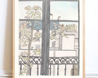 Paris print Room with a View, Autumn in Paris - Paris art print giclee from original illustration