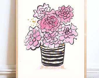 Pink Flowers in Black and White Squiggly with Gold Sprinkles - original painting on heavy fine art paper