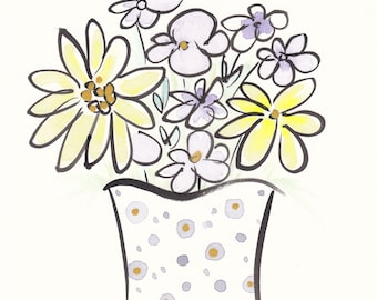 Original flower art Cheerful Yellow and Purple in Spotty Vase - original artwork not a print