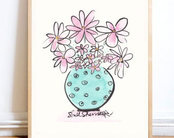 Flower Painting Jade Circling with Pink and White Posy - original artwork Indian ink on fine art paper