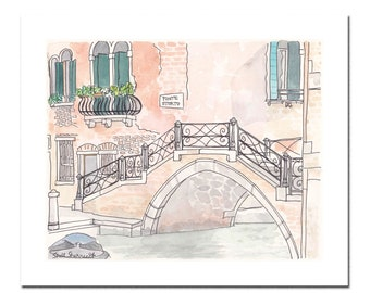 Venice print Ponte Storto Bridge - Italy illustration