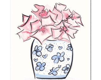 Blue and White Ginger Jar with Pink Flowers original artwork - original art flowers