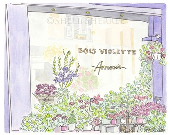 Paris Flower Shop Purple art print Bois Violette