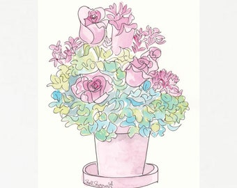 Flower print - Pink Roses with Hydrangeas in Pink Pot art print giclee, flower art