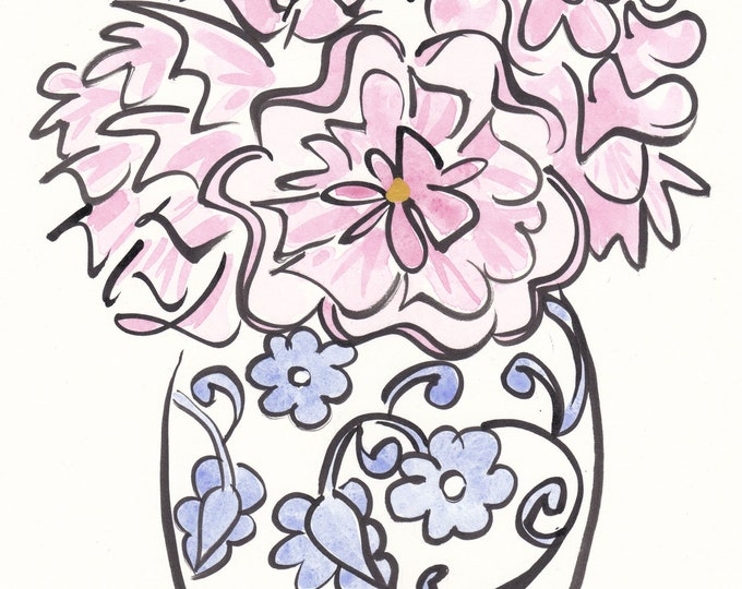 Featured listing image: Flower art Blue and White Ginger Jar and Pink Peonies - original Indian ink and watercolour