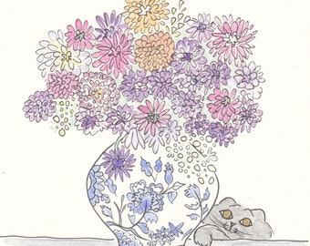 Floral prints - Ginger Jar with Opulent Flowers and Sweet Cat wall art print - flower illustration