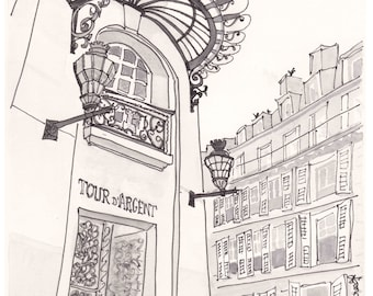 Black and White in Paris print, Tour d'Argent Restaurant - art print giclee from original illustration