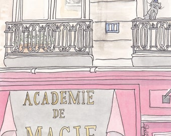 Magic Shop in Paris art print with Sweet Black Cat - Academie de Magie - Paris illustration, Magic print