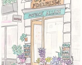Paris Flower Shop-  Patrick Allain Fleuriste - giclee print of ink and watercolour illustration