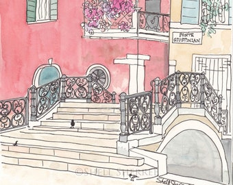 Ponte Giustinian Bridge and Pigeons Pecking Venice Print