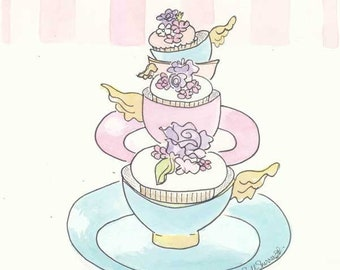 Teacup and Cupcakes Print with Pink and White Stripes, Sweet bakery art giclee print