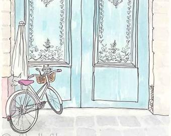 Paris print Bicycle Cat Adores Turquoise Doors - Paris Doors and Bicycle with Cat illustration print