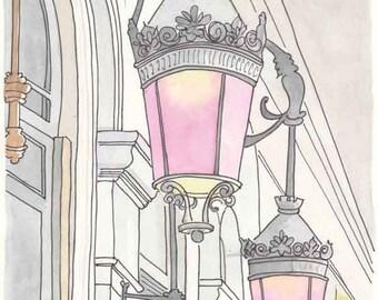 Paris print Pink Rose Coloured Lamps - Pretty Pink Paris print from original illustration