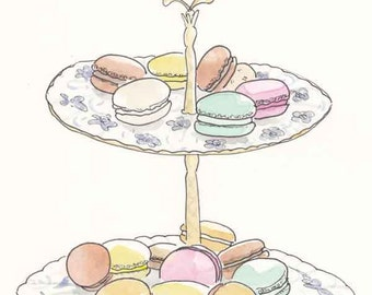 Macaron and Blue and White Stand art print - Bakery print, sweets print