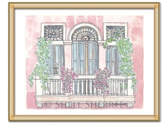 Venice Print Raspberry Pink with Teal Shutters Flowers and Cat - art print of Italy illustration