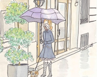 Walking in the Rain - Paris Rainy Day Reflections wall art print giclee