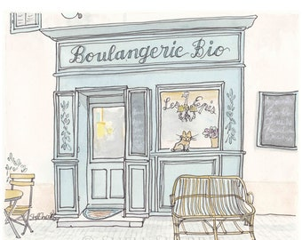 French Boulangerie Print, French Bakery Print, Provence Print, French art print in aqua and cream
