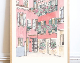 Italy Print - Melon Coloured Villas in Venice print giclee of illustration - Venice print, Travel art