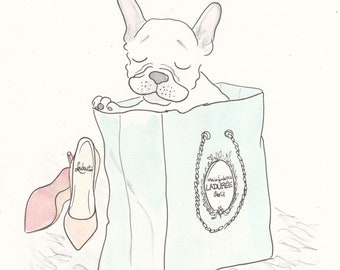 French Bulldog art print Shopping with Laduree and Louboutins, Frenchie drawing, White Frenchie artwork, Dog art, French Bulldog print white