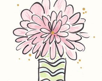 Original flower painting Happy Pink Bloom with Lime Wavy Vase