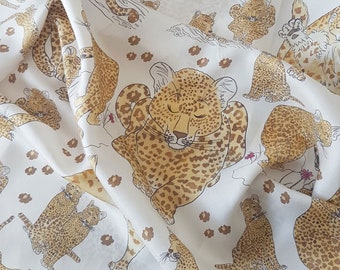 Italian Silk Scarf illustrated with Leopards - luxury silk twill leopard scarf with hand-illustrated design