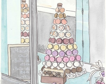 French print Macaron Tower in Paris - art print illustration
