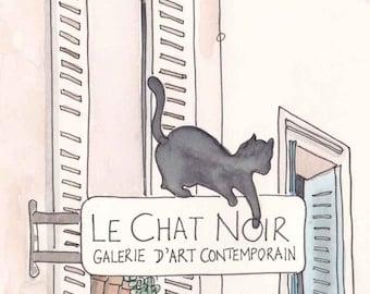 Black Cat, Paris - Le Chat Noir, fine art Paris print, Paris illustration, Paris art. Montmartre artwork, French art, Black Cat art print