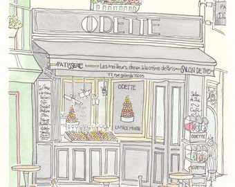 Odette French Pastries in Paris art print - Paris illustration, French art, French art shop