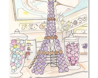Eiffel Tower art print -  Eiffel Tower of Macarons and Sweets in Paris Patisserie Stohrer - French art