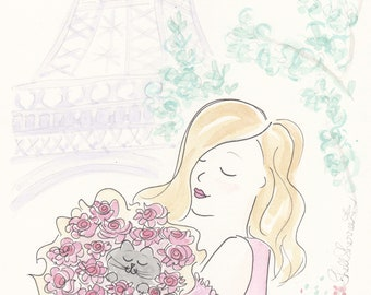Paris Eiffel Tower Girl with Cat and Flowers Rosy Posy - Paris print, French art