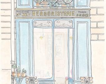 Paris Print - Aqua Blue Shop in Paris, Herboristerie Paris print, Paris illustration art giclee print, French art, French art shop