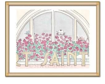 Paris Saint Michel art illustration print - Paris window and flowers with sweet cats wall art