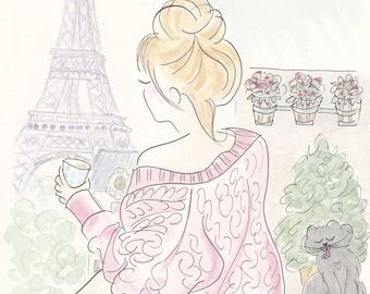Paris Eiffel Tower Fashion illustration - Eiffel Tower, Morning Coffee and Kitty Cat Paris art print
