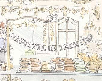 Paris bakery print, Pain de Campagne Au Levain illustration