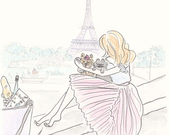 Eiffel Tower with Pink Fashion and Animals print giclee, French art prints, Paris art, Paris print, Eiffel Tower print