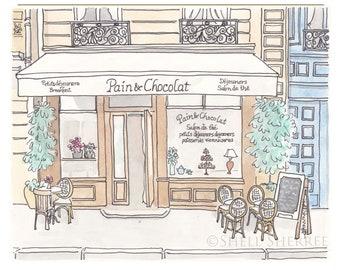 Paris Cafe Tea Salon print - Pain et Chocolat - French art print giclee