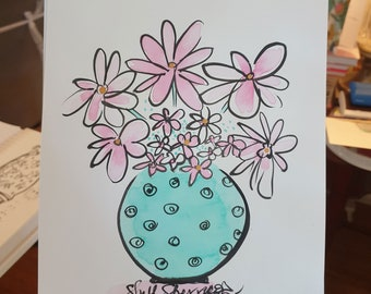 One of a kind Flower Painting Original Aqua Green Spotty with Pink and White Blooms - Indian ink on fine art paper