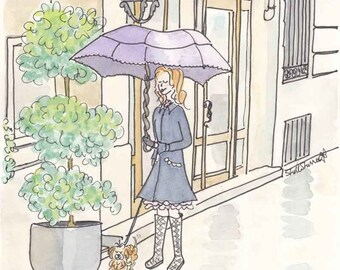 Paris print Walking the Dog Rainy Reflections - giclee print of ink and watercolour illustration